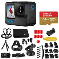 Image of GoPro HERO10 Black, Waterproof Action Camera, 5.3K60/4K Video, 1080p Live Streaming Bundle with Froggi Extreme Sport 40-PC Accessory Kit, 64GB microSD Card