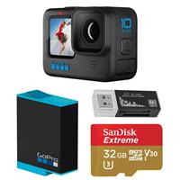Image of GoPro HERO10 Black, Waterproof Action Camera, 5.3K60/4K Video, 1080p Live Streaming, Essential Bundle with Extra Battery, 32GB microSD Card, Card Reader