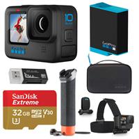 Image of GoPro HERO10 Black, Waterproof Action Camera, 5.3K60/4K Video, 1080p Live Streaming, Bundle with Adventure Kit, Extra Battery, 32GB microSD Card, Card Reader