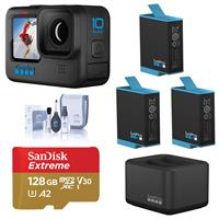 Image of GoPro HERO10 Black, Waterproof Action Camera, 5.3K60/4K Video, 1080p Live Streaming, Power Bundle with Dual Charger, 3 Extra Battery, 128GB microSD Card, Cleaning Kit