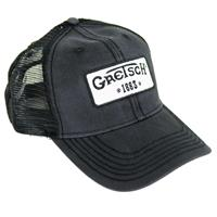 Image of Gretsch Limited Edition Mesh Back Vintage Trucker Hat with 1883 Logo Patch, Adjustable, One Size Fits All, Black