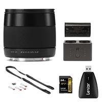 Image of Hasselblad 45mm F/3.5 XCD Lens for X1D Bundle with Extra Battery, Battery Charger Hub, 64GB UHS-II V90 SD Card, Card Reader, Camera Strap