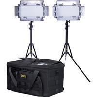 Image of Ikan Bi-color LED Studio Light Kit, Includes 2x IB508-v2 Bi-color LED Studio Light, 2x Light Stand, Dual Battery Charger, 4x Sony L-Series NP-F750 Battery