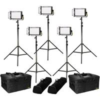 Image of Ikan Lyra Daylight 5-Point Soft Panel LED Light Kit, Includes 5x LW5 LED Light, 5x HD Stand, 5x Barn Door with Intensifier, 5x Gold Mount Battery Plate, 5x V-Mount Battery Plate, 5x Power Supply with Cable, 5x Remote Control, 5x Yoke Mount, 2x Light Bag a