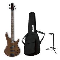 Ibanez GIO Series GSR200BWNF Electric Bass Guitar, Walnut Flat - Bundle With On-Stage XCG4 Classic Guitar Stand, Ibanez IBB101 Gig Bag Black