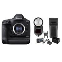 Image of Canon EOS 1DX Mark III DSLR Body with Flashpoint Zoom Li-on X R2 TTL On-Camera Round Flash Speedlight