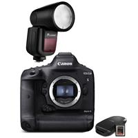 Canon EOS-1D X Mark III DSLR Camera Body with CFexpress Card & Reader Bundle Kit - With Flash Kit,Flashpoint Zoom Li-on X R2 TTL On-Camera Round Flash Speedlight For Canon