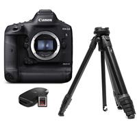 Canon EOS-1D X Mark III DSLR Camera Body with CFexpress Card & Reader Bundle Kit - With Tripod Kit, Peak Design Aluminum Travel Tripod with Ball Head