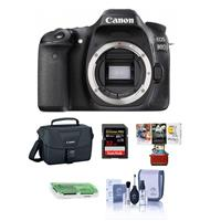 Canon EOS 80D DSLR Camera Body, Black - Bundle With Camera Bag, 32GB Class 10 SDHC Card, Cleaning Kit, Mac Software Package, SD Card Reader
