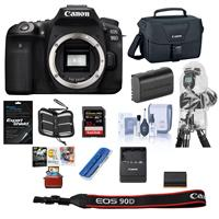 Canon EOS 90D DSLR Camera Body - Bundle With Camera Bag, 32GB SDHC U3 Card, Spare Battery , Cleaning kit, Screen Protector, Memory Wallet, Card Reader, Rain Cover for Cameras, Mac Software Package