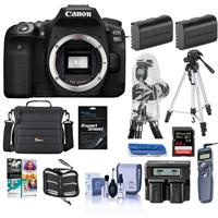 Canon EOS 90D DSLR Camera Body - Bundle With Camera Bag, 64GB SDXC U3 Card, Tripod, Remote Shutter Release, 2 Pack Batteries, Dual Charger, Cleanig Kit, Memory Wallet Software Package, And More