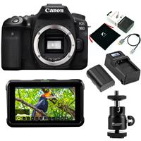 "Canon EOS 90D DSLR Camera Body - Bundle With Atomos Shinobi 5.2"" IPS Touchscreen Photo and Video Monitor, Zilr 4Kp60 Speed HDMI Secure Cable with Micro Connector, GXNPF550 Battery, And More"