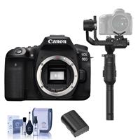 Canon EOS 90D DSLR Camera Body - Bundle With DJI Ronin-S Essentials Kit, Spare Battery, Cleaning Kit