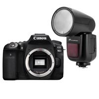 Canon EOS 90D DSLR Camera Body - Bundle With Flashpoint Zoom Li-on R2 TTL On-Camera Flash Speedlight for Canon