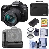 Canon EOS 90D DSLR Camera with EF-S 18-135mm f/3.5-5.6 IS USM Lens - Bundle With Camera case, 64GB SDXC Card, Spare Battery, GE BG-E14 Battery Grip, Screen Protector, 67MM Filter Kit, Cleaning Kit