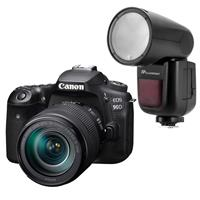 Canon EOS 90D DSLR Camera with EF-S 18-135mm f/3.5-5.6 IS USM Lens - With Flashpoint Zoom Li-on X R2 TTL On-Camera Round Flash Speedlight For Canon