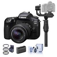 Canon EOS 90D DSLR Camera with EF-S 18-55mm f/3.5-5.6 IS STM Lens - Bundle With DJI Ronin-S Essentials Kit, Spare Battery, Cleaning Kit, 55mm Filter Kit