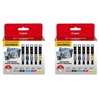 Image of Canon 2 Pack CLI-251 BK/CMYG 5 Ink Color Multi Pack, Gray, Black, Cyan, Magenta, Yellow for MG7520, MG5620, MG6620 Printers