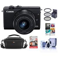 Canon EOS M200 Mirrorless Camera with EF-M 15-45mm f/3.5-6.3 IS STM Lens, Black - Bundle With 49mm Filter Kit, 16GB SDHC Card, Camera Case, Cleaning Kit, Pc Software Package