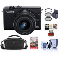 Canon EOS M200 Mirrorless Camera with EF-M 15-45mm f/3.5-6.3 IS STM Lens, Black - Bundle With 49mm Filter Kit, 16GB SDHC Card, Camera Case, Cleaning Kit, Mac Software Package