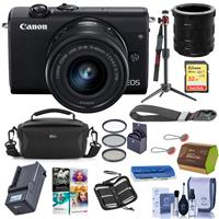 Canon EOS M200 Mirrorless Camera with EF-M 15-45mm f/3.5-6.3 IS STM Lens Black - Bundle With Camera Case, 32GB SDHC Card, Spare Battery, Compact Charger, Peak Cuff Wrist Strap, Software And More