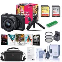 Canon EOS M200 Content Creator Kit with Tripod Grip/Remote & EF-M 15-45mm f/3.5-6.3 IS STM Lens, Black - Bundle With Camera Case, 32GB SDHC Card, 49mm Filter Kit, Cleaning Kit, Pc Software, And More