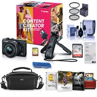 Canon EOS M200 Content Creator Kit with Tripod Grip/Remote & EF-M 15-45mm f/3.5-6.3 IS STM Lens, Black - Bundle With Camera Case, 32GB SDHC Card, 49mm Filter Kit, Cleaning Kit, Mac Software, And More