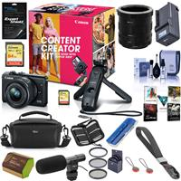 Canon EOS M200 Content Creator Kit with Tripod Grip/Remote & EF-M 15-45mm f/3.5-6.3 IS STM Lens, Black - Bundle With Camera Case, 64GB SDXC Card, Spare Battery, Pro On Camera Shotgun Mic, With More