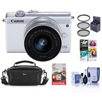 Canon EOS M200 Mirrorless Camera with EF-M 15-45mm f/3.5-6.3 IS STM Lens , White - Bundle With 49mm Filter Kit, 16GB SDHC Card, Camera Case, Cleaning Kit, Pc Software Package