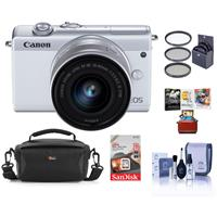 Canon EOS M200 Mirrorless Camera with EF-M 15-45mm f/3.5-6.3 IS STM Lens , White - Bundle With 49mm Filter Kit, 16GB SDHC Card, Camera Case, Cleaning Kit, Mac Software Package