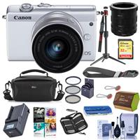 Canon EOS M200 Mirrorless Camera with EF-M 15-45mm f/3.5-6.3 IS STM Lens White - Bundle With Camera Case, 32GB SDHC Card, Spare Battery, Compact Charger, Peak Cuff Wrist Strap, Software And More