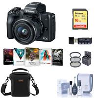 Canon EOS M50 Mirrorless Camera with EF-M 15-45mm f/3.5-6.3 IS STM Lens, Black - Bundle With 16GB SDHC Card, Camera Case, 49mm Filter Kit, Cleaning Kit, Card Reader, Pc Software Package