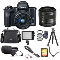 Canon EOS M50 Mirrorless Camera with EF-M 15-45mm f/3.5-6.3 IS STM Lens, Black - Bundle With Camera Case, 32GB SDHC Card, Video Light, Stereo Condenser Microphone, Joby GorillaPod 3K Kit, And More