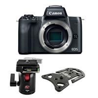 Canon EOS M50 Mirrorless Digital Camera Body - Black - Bundle With Platypod Ultra Plate Camera Support, with 3Pod B3 B Series Single Lever Travel Ball Head