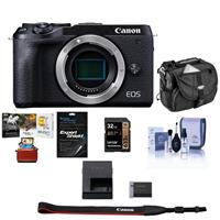 Canon EOS M6 Mark II Mirrorless Digital Camera Body, Black - BUNDLE With 32GB SDHC Card, Camera Case, Cleaning Kit, Screen Protector, Mac Software ackage