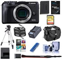 Canon EOS M6 Mark II Mirrorless Digital Camera Body, Black - Bundle With 64GB SDXC U3 Card, Camera Case, Spare Battery, Tripod, Compact Charger, Cleaning Kit, Software Package, And More