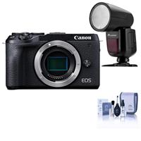 Canon EOS M6 Mark II Mirrorless Digital Camera Body, Black - With Flashpoint Zoom Li-on X R2 TTL On-Camera Round Flash Speedlight For Canon, Cleaning Kit