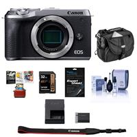 Canon EOS M6 Mark II Mirrorless Digital Camera Body, Silver - BUNDLE With 32GB SDHC Card, Camera Case, Cleaning Kit, Screen Protector, Mac Software Package