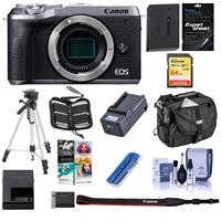 Canon EOS M6 Mark II Mirrorless Digital Camera Body, Silver - Bundle With 64GB SDXC U3 Card, Camera Case, Spare Battery, Tripod, Compact Charger, Cleaning Kit, Software Package, And More