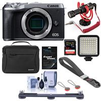 Canon EOS M6 Mark II Mirrorless Digital Camera Body, Silver - Bundle With RODE Compact On-Camera Microphone, 64GB SDXC Card, Peak Camera Cuff Wrist Strap, Shoulder Bag, Mini LED Light And More