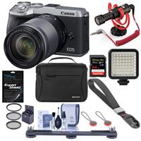 Canon EOS M6 Mark II Mirrorless Camera with EF-M 18-150mm IS STM Lens & EVF-DC2 Viewfinder, Black, Silver - Bundle With RODE Compact On-Camera Mic, 64GB SDXC Card, Peak Cuff Wrist Strap, And More
