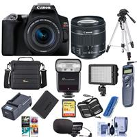 Canon EOS Rebel SL3 DSLR Camera with EF-S 18-55mm f/4-5.6 IS STM Lens Black - Bundle With Camera Case, 64GB U3 SDXC Card, Spare Battery, Stereo Mic, TTL R2 Flash, Video Light, Tripod, And More