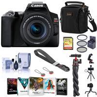 Canon EOS Rebel SL3 DSLR Camera with 18-55mm Lens (Black), Bundle with Bag, Wrist Strap, Flexible Mini Tripod, 64GB SD Card and Accessories