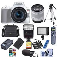 Canon EOS Rebel SL3 DSLR Camera with EF-S 18-55mm f/4-5.6 IS STM Lens WHITE - Bundle With Camera Case, 64GB U3 SDXC Card, Spare Battery, Stereo Mic, TTL R2 Flash, Video Light, Tripod, And More