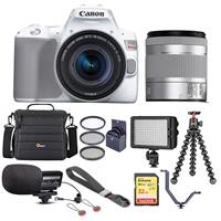 Canon EOS Rebel SL3 DSLR Camera with EF-S 18-55mm f/4-5.6 IS STM Lens White - Bundle With Camera Case, 32GB U3 SDHC Card, Video Light, Stereo Condenser Microphone, Joby GorillaPod 3K Kit, And More