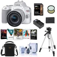 Canon EOS Rebel SL3 DSLR Camera with 18-55mm Lens (White), Bundle with Bag, Wrist Strap, Flexible Mini Tripod, 64GB SD Card and Accessories