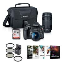 Canon EOS Rebel T7 24.1MP DSLR Camera with EF-S 18-55mm f/3.5-5.6 IS II Lens and EF 75-300mm f/4-5.6 III Lens - Bundle With 16GB SDHC Card, 58mm Filter Kit, 58mm UV Filter, PC Software Package