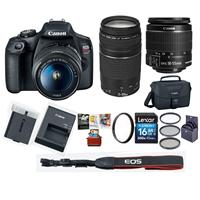 Canon EOS Rebel T7 24.1MP DSLR Camera with EF-S 18-55mm f/3.5-5.6 IS II Lens and EF 75-300mm f/4-5.6 III Lens - Bundle With 16GB SDHC Card, 58mm Filter Kit, 58mm UV Filter, Mac Software Package