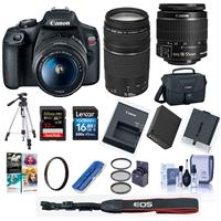 Canon EOS Rebel T7 24.1MP DSLR Camera with EF-S 18-55mm f/3.5-5.6 IS II Lens and EF 75-300mm f/4-5.6 III Lens - Bundle With 58mm Filter Kit, Camera Case, 32GB SDHC U3 Card, 16GB SDHC Card, Tripod, And More