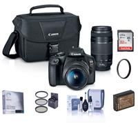 Canon EOS Rebel T7 24.1MP DSLR Camera with EF-S 18-55mm f/3.5-5.6 IS II and EF 75-300mm f/4-5.6 III Lens - Bundle With 32GB SDHC Card, 58mm Filter Kit, 58mm UV filter, Spare Battery, Cleaning Kit, More
